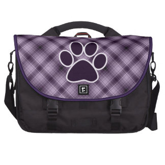 Purple Paw Print Laptop Commuter Bag