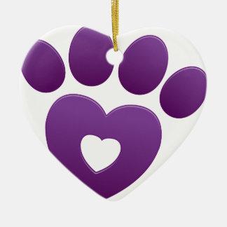 Purple Paw Print Ornament