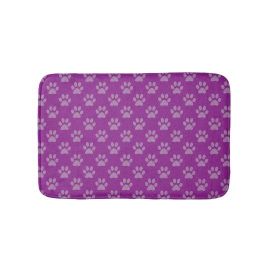 Purple paw prints bath mat