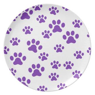 Purple paw prints party plates