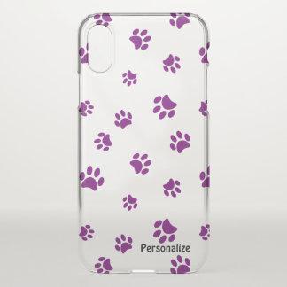 Purple Paw Prints Pattern iPhone X Case
