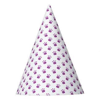 Purple Paw Prints Pattern Party Hat