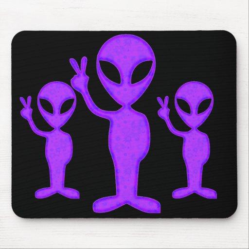 Purple Peace Alien Mouse Pads