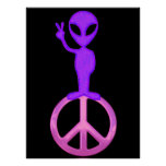 Purple Peace Alien Poster Print
