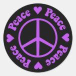 Purple Peace & Love Sticker