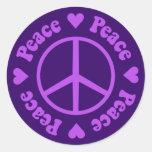 Purple Peace & Love Sticker Round Stickers