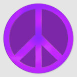 Purple Peace Round Stickers