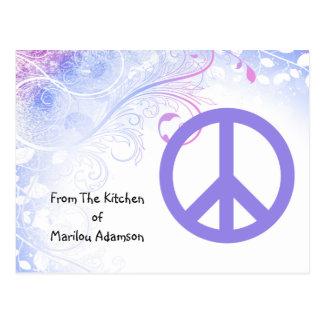 Purple Peace Sign Flowers Recipe Cards