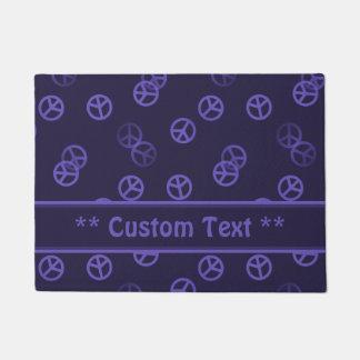 Purple Peace Sign Pattern w/ Custom Text Doormat