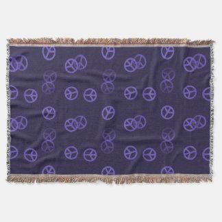 Purple Peace Sign Throw Blanket
