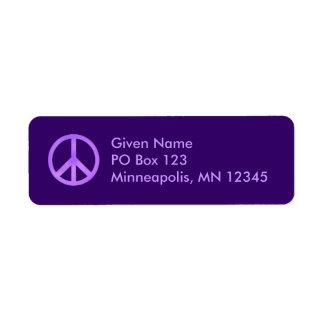 Purple Peace Symbol Avery Label