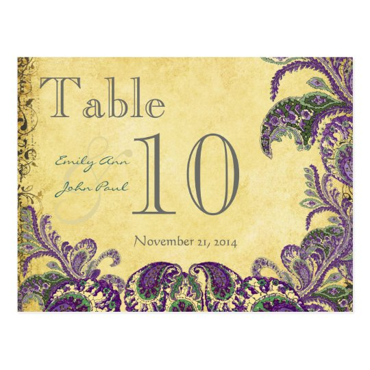 Purple Peacock Colours Paisley Wedding Table Postcard