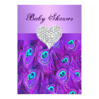 Purple Peacock Diamond Heart Baby Shower Invite