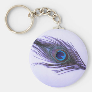 Purple Peacock Feather Key Ring