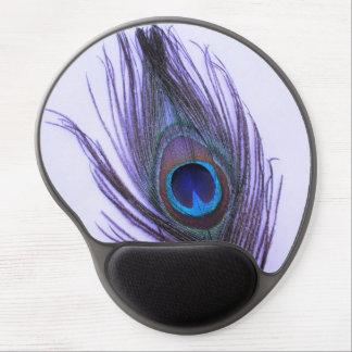 Purple Peacock Feather on Purple Gel Mouse Mat