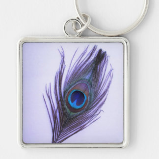 Purple Peacock Feather on Purple Large Premium Key Key Ring