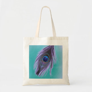 Purple Peacock Feather on Teal Bag