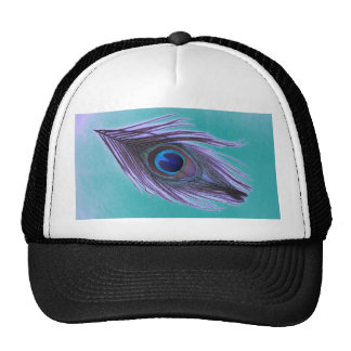 Purple Peacock Feather on Teal Hats