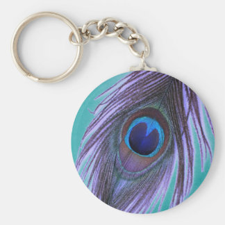 Purple Peacock Feather on Teal Key Chain