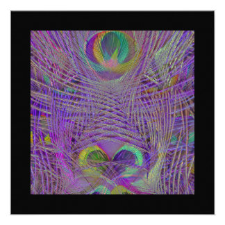 Purple Peacock Feathers Invitations