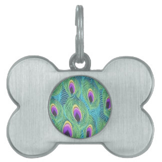Purple Peacock Feathers Pet Name Tag