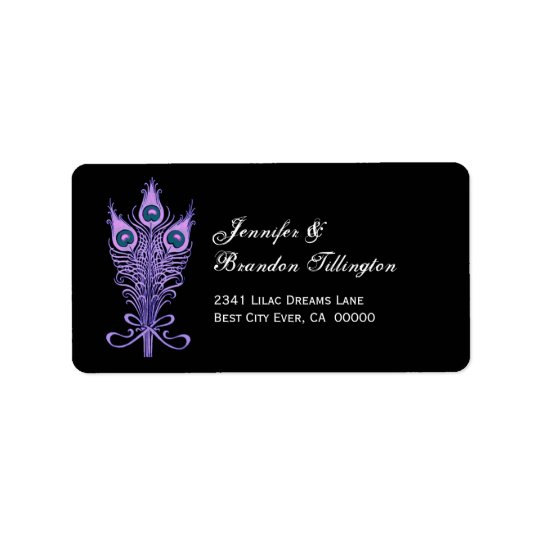 Purple Peacock Feathers Wedding Address Label
