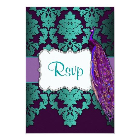 Purple Peacock & Teal Damask Wedding RSVP Cards