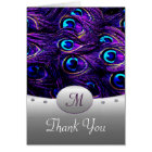 Purple Peacock Wedding Thank You Cards - Tall