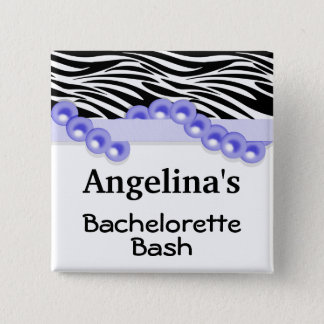 Purple Pearls And Ribbon Guest Party Favor 15 Cm Square Badge