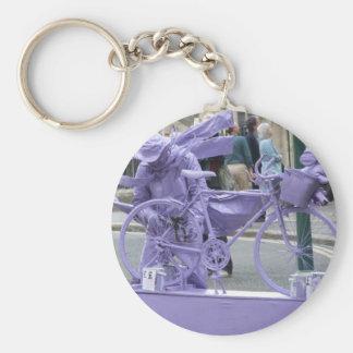 Purple Pedaller Basic Round Button Key Ring
