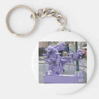 Purple Pedaller Basic Round Button Key Ring