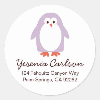 Purple Penguin Address Labels Round Sticker