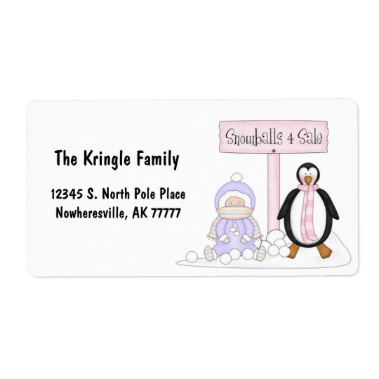 Purple Penguin For Sale Address Label