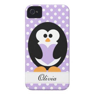 Purple Penguin Love iPhone 4 Case-Mate Case