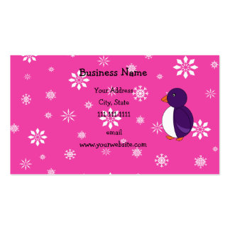 Purple penguin pink and white snowflakes business cards