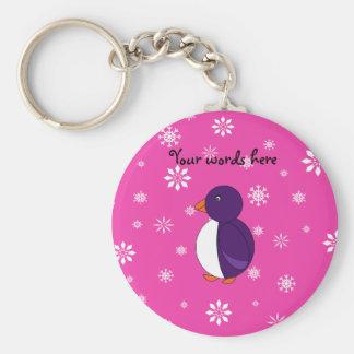 Purple penguin pink snowflakes pattern key chain