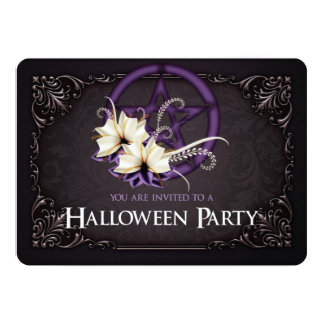 Purple Pentagram Halloween Party Invitation