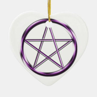 Purple Pentagram on white Ceramic Heart Decoration
