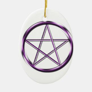 Purple Pentagram on white Ceramic Oval Decoration