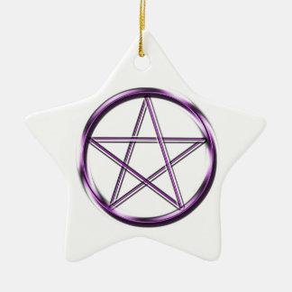 Purple Pentagram on white Ceramic Star Decoration