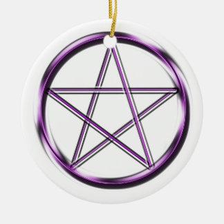 Purple Pentagram on white Round Ceramic Decoration