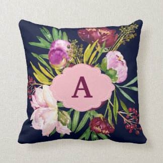 Purple Peonies Watercolor Flowers Monogram Cushion