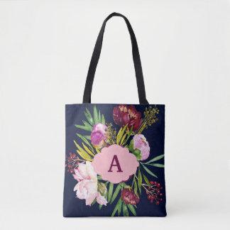 Purple Peonies Watercolor Flowers Monogram Tote Bag