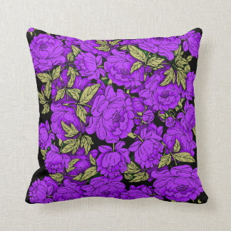 Purple Peonies with Gold Leaves Cushion