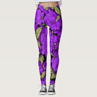 Purple Peonies with Gold Leaves Leggings