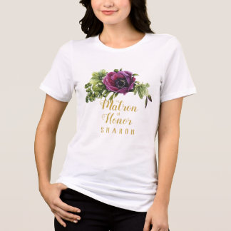 Purple Peony Swag Matron of Honor Name ID456 T-Shirt