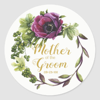 Purple Peony Wreath Mother of the Groom ID456 Classic Round Sticker