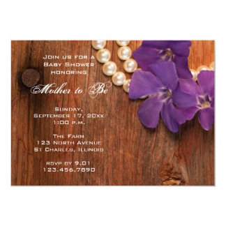 Purple Periwinkle and Barn Wood Baby Shower Invite