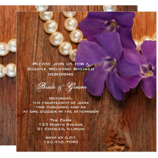 Purple Periwinkle Barn Wood Country Couples Shower 13 Cm X 13 Cm Square Invitation Card