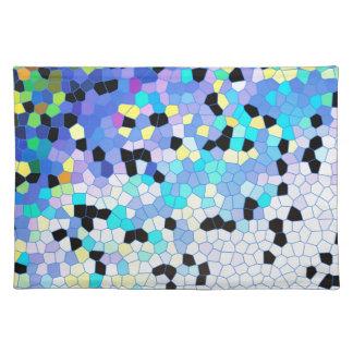 Purple Periwinkle Blue & Black Mosaic Pattern Placemats